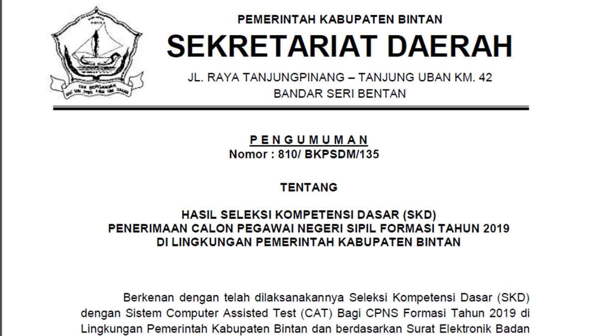 Pengumuman Hasil SKD CPNS Pemkab Bintan Formasi 2019 1
