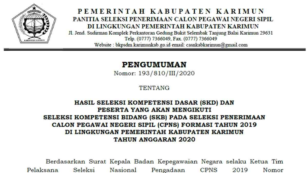 Pengumuman Hasil SKD CPNS Pemkab Karimun Formasi 2019 1