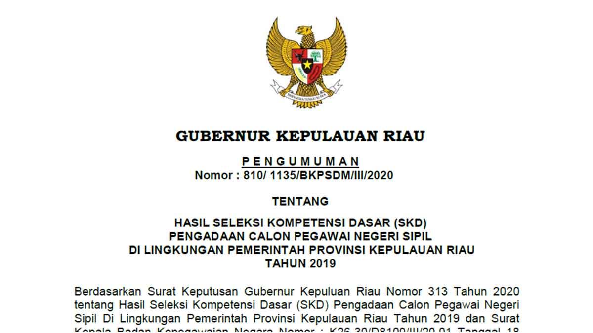 Pengumuman Hasil SKD CPNS Pemprov Kepri Formasi 2019 1
