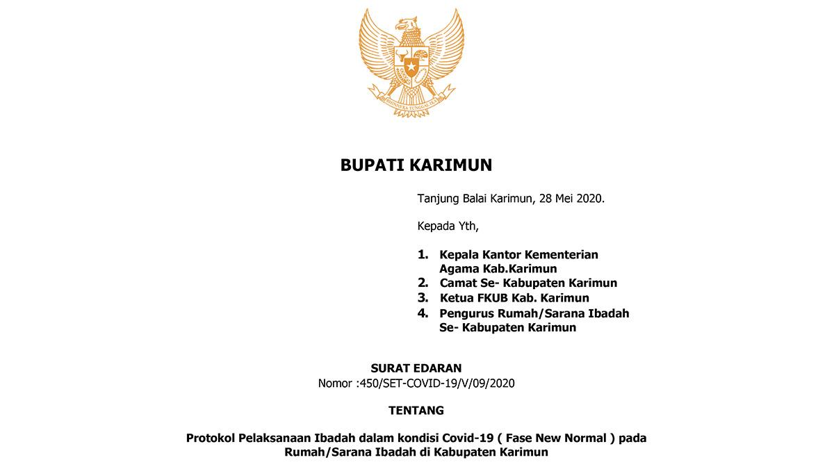 Fase New Normal, Bupati Karimun Terbitkan Surat Edaran Protokol Pelaksanaan Ibadah 4