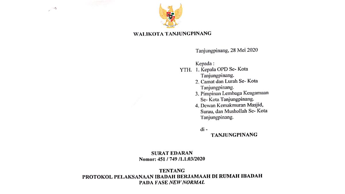 Surat Edaran Protokol Pelaksanaan Ibadah di Kota Tanjungpinang Pada Fase New Normal 1