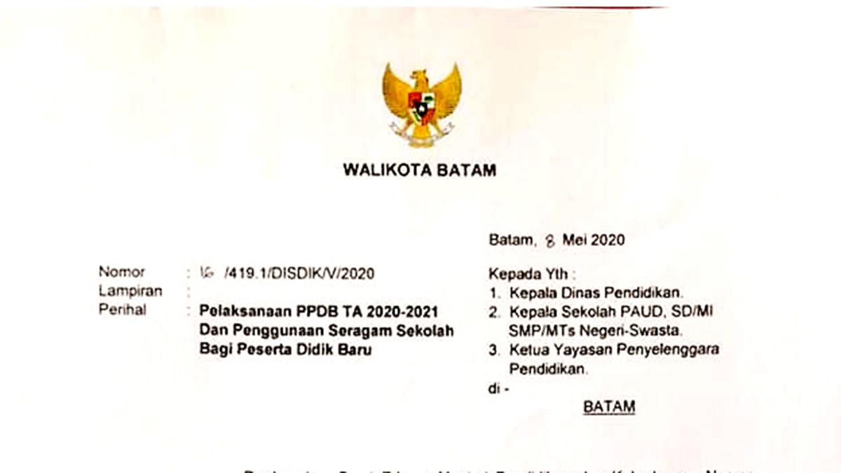 Ini Surat Edaran Walikota Batam Terkait PPDB TA 2020-2021 1
