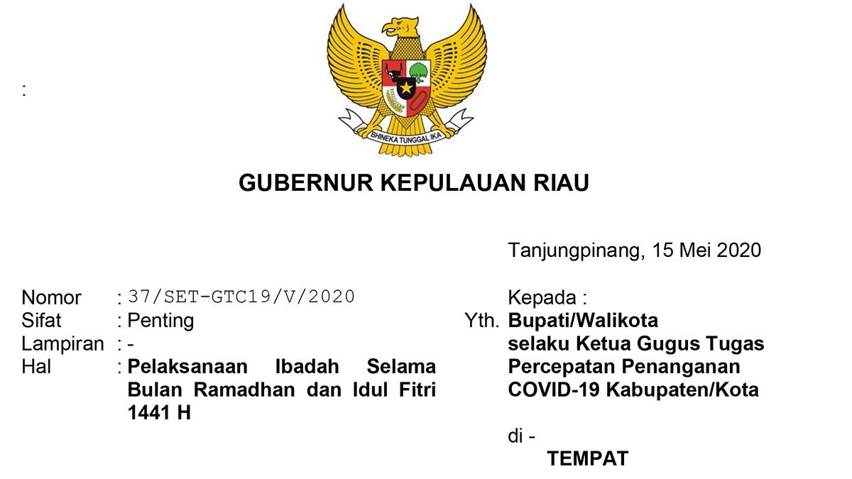 Ini Surat Gubernur Kepri Terkait Pelaksanaan Ibadah Ramadhan dan Idul Fitri 1441 H 2