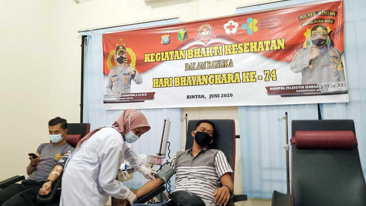 100 Personil Polres Bintan dan Polda Kepri Donor Darah 8