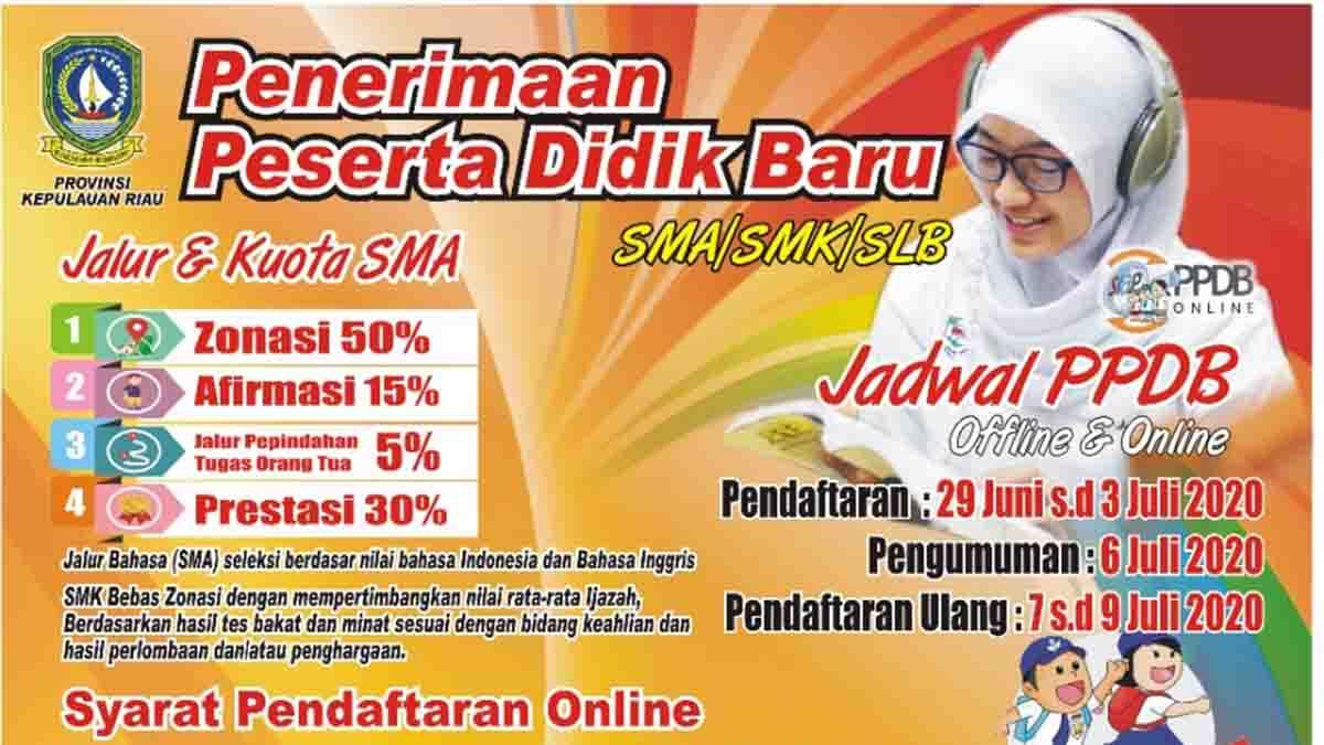 Ini Jadwal dan Syarat Pendaftaran PPDB Online SMA, SMK dan SLB Provinsi Kepri 1