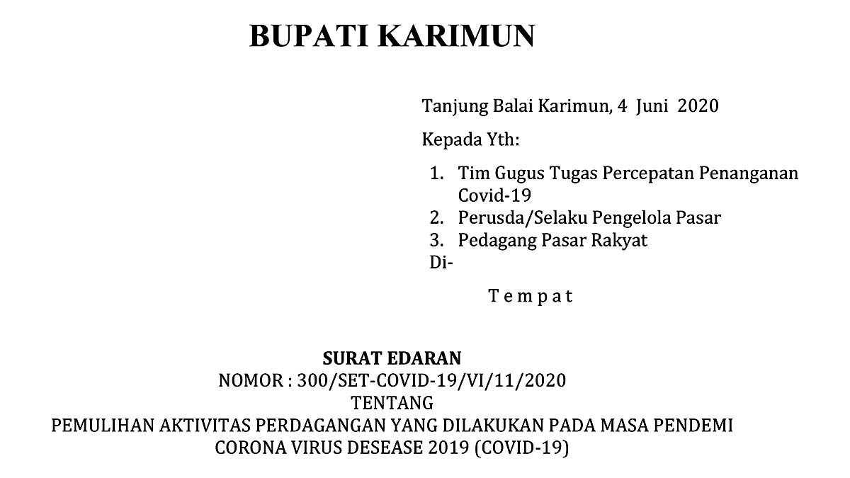 Bupati Karimun Keluarkan SE Pemulihan Aktivitas Pasar Rakyat 2