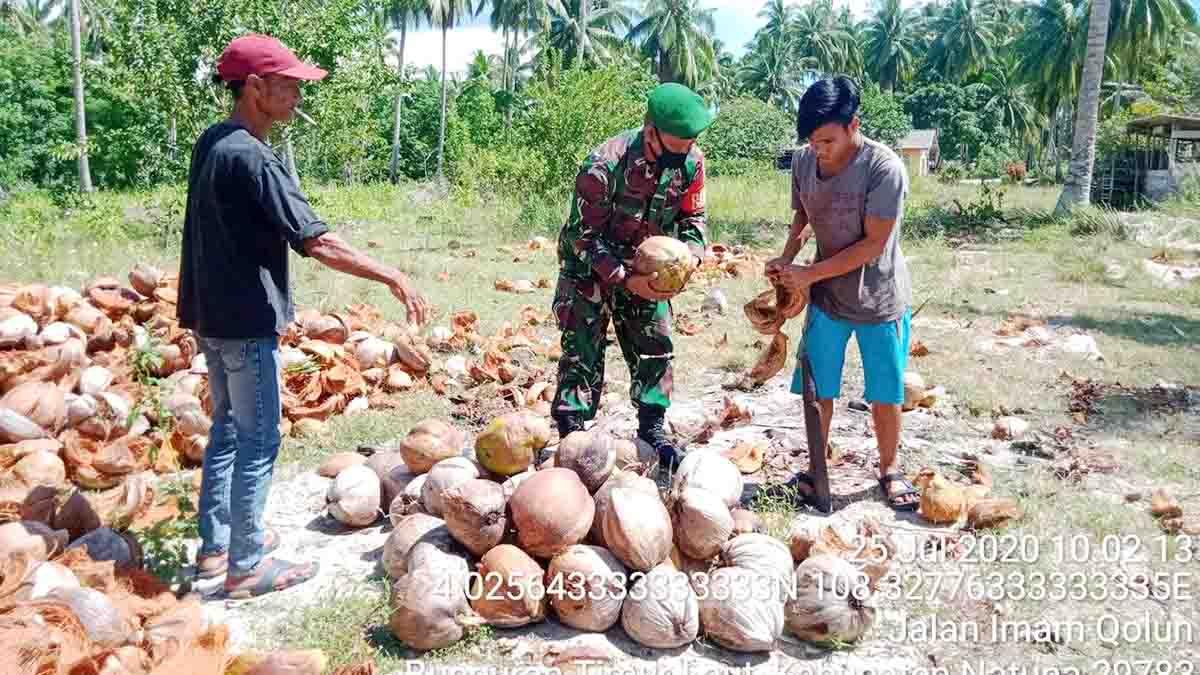 Harga Kelapa Turun, Warga Sampaikan Keluhannya ke Babinsa Desa Tanjung 9