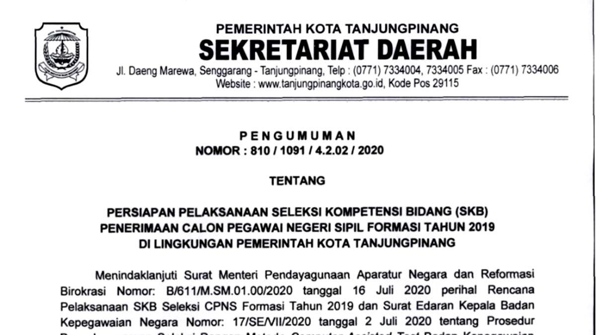 Daftar Ulang dan Pemilihan Lokasi Ujian SKB CPNS Pemko Tanjung Pinang 1