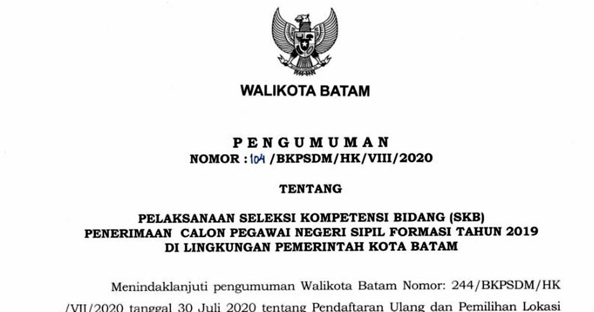 Jadwal Pelaksanaan SKB CPNS Pemko Batam Formasi 2019 1