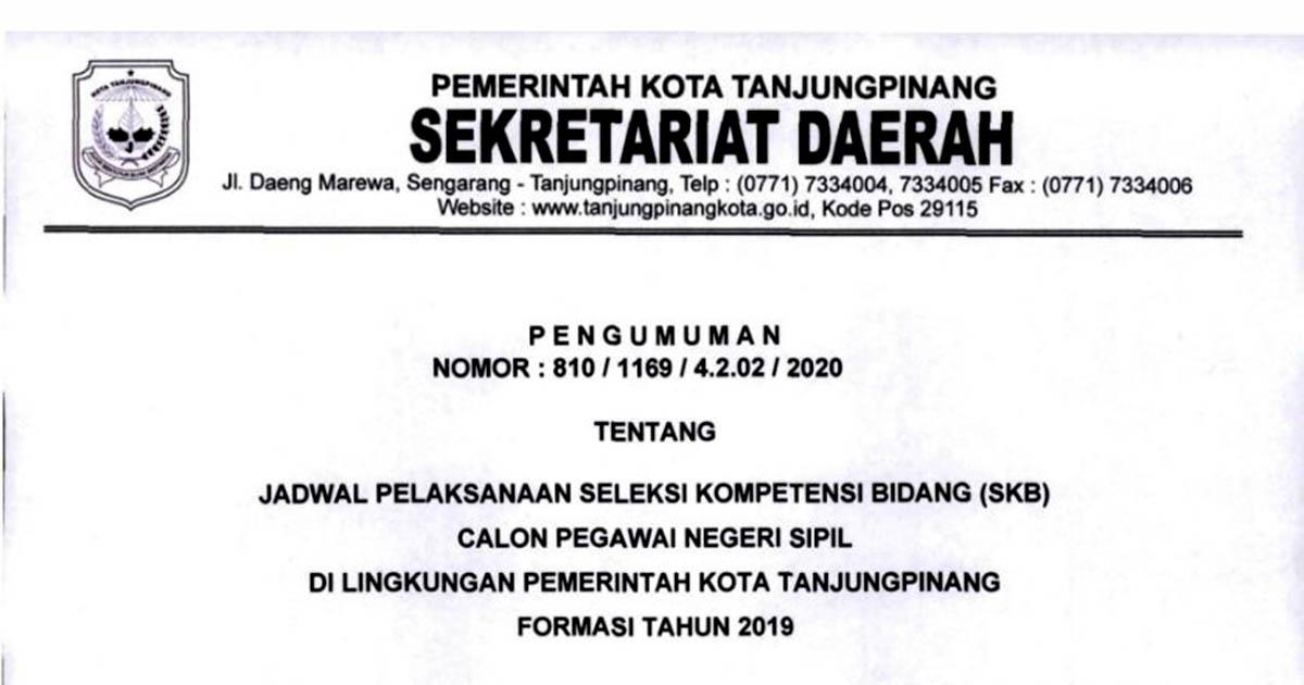 Jadwal Seleksi SKB CPNS Pemko Tanjungpinang Formasi 2019 4