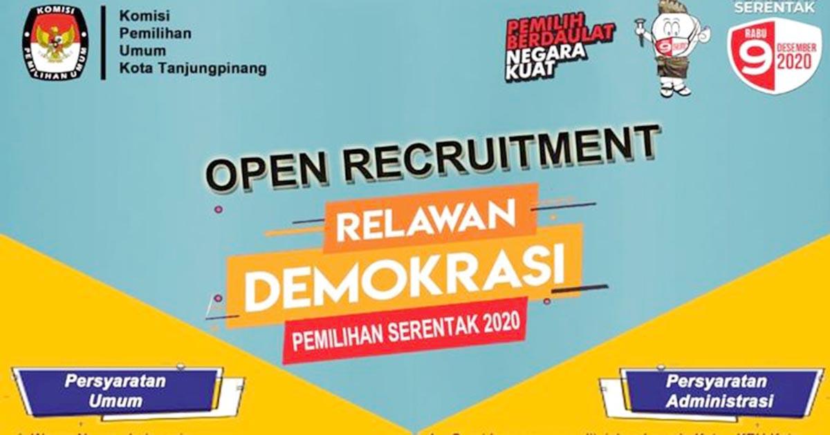 KPU Tanjung Pinang Rekrut Relawan Demokrasi, Gajinya Rp 750.000 Perbulan 1
