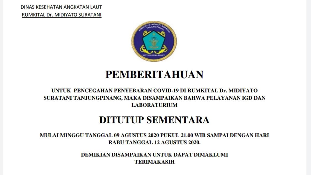 Cegah Covid 19, RSAL Tanjung Pinang Tutup Pelayanan IGD dan Laboraturium 33