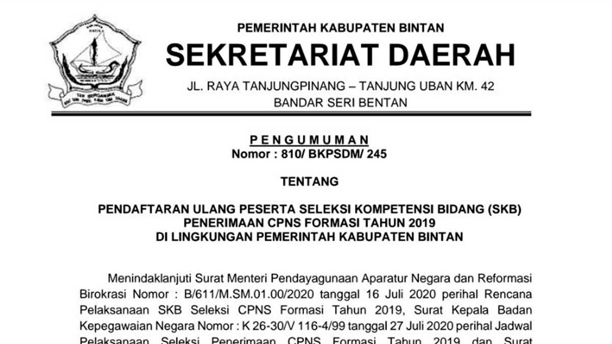 Daftar Ulang dan Pemilihan Lokasi Ujian SKB CPNS Pemkab Bintan 3