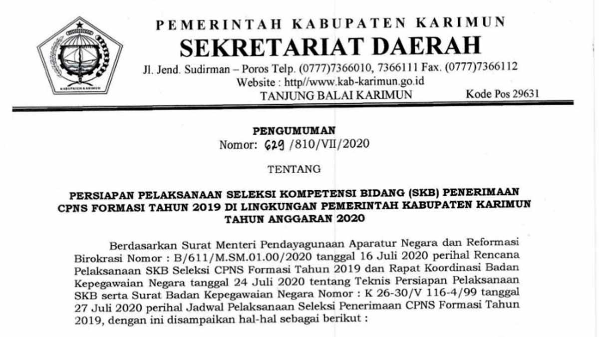 Daftar Ulang dan Pemilihan Lokasi Ujian SKB CPNS Pemkab Karimun 2