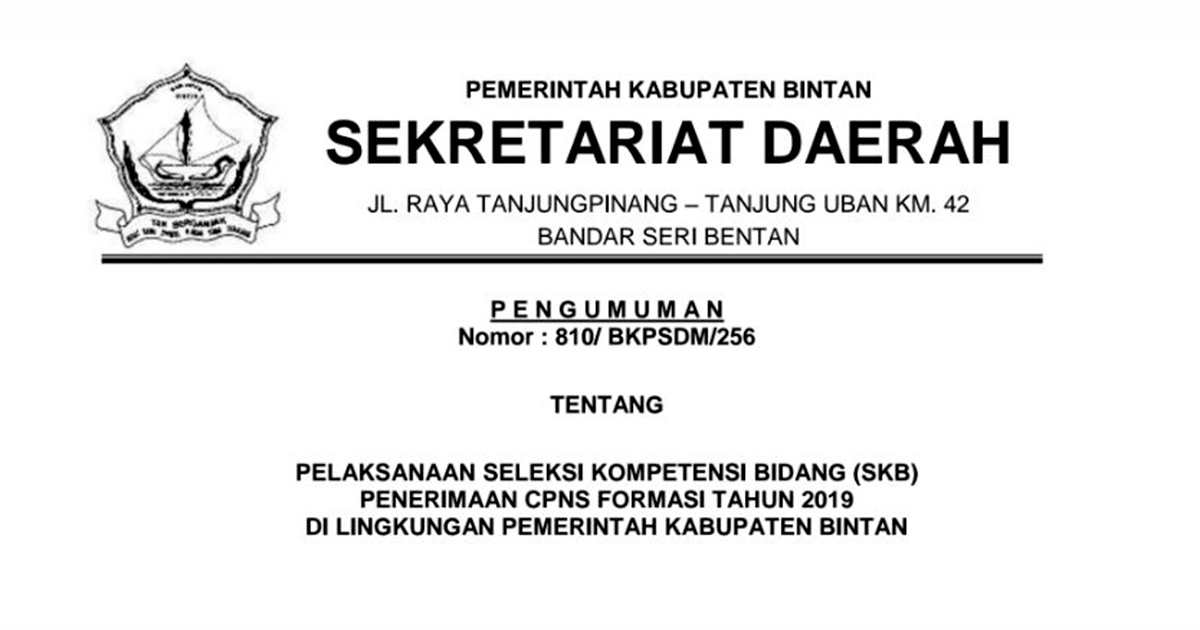 Jadwal Pelaksanaan SKB CPNS Pemkab Bintan Formasi 2019 2