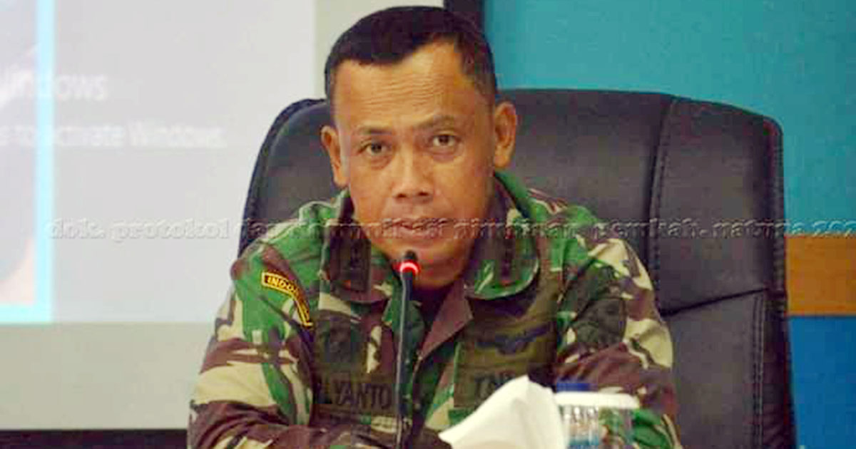 Koordinator Lapangan (Korlap) HUT RI ke 75, yang sekaligus Komandan Raden Sajad Ranai, Kol Pnb Farliyanto ST M.AP, menyampaikan kata sambutan