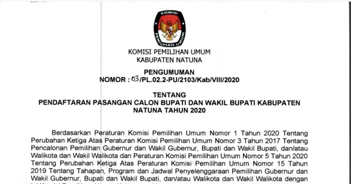 KPU Natuna Umumkan Pendaftaran Bakal Calon Bupati dan Wakil Bupati Natuna Tahun 2020 4
