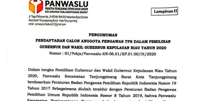 Panwaslu Kecamatan Tanjungpinang Barat Rekrut Tenaga Pengawas TPS 18