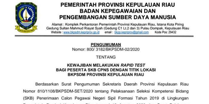 Pengumuman Rapid Test Peserta SKB CPNS Provinsi Kepri 20