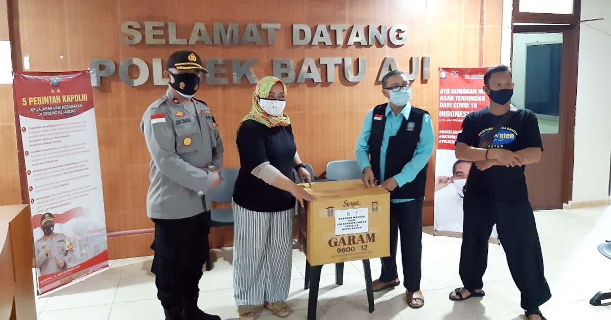 Polsek Batu Aji dan Paguyuban Warga Banten Terima Bantuan Masker dan Hand Sanitezer 1
