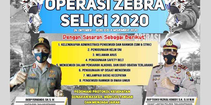 Mulai Senin, Razia Operasi Zebra Seligi 2020 Satlantas Polres Tanjungpinang Dilaksanakan 22