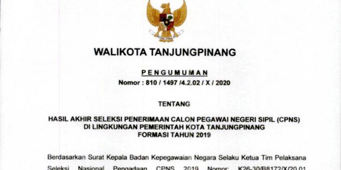 Pengumuman Lulus Seleksi Penerimaan CPNS Pemko Tanjungpinang 21