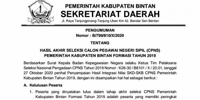 Pengumuman Lulus Seleksi Penerimaan CPNS Pemkab Bintan 17