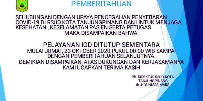 Layanan IGD RSUD Tanjung Pinang Ditutup 18