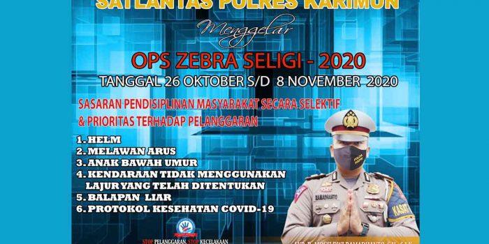 Mulai Senin, Satlantas Polres Karimun Gelar Razia Operasi Zebra Seligi 2020 21