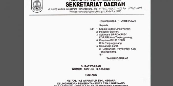 Surat Edaran Netralitas ASN Pemko Tanjung Pinang Pada Pilkada Serentak 2020 PDF 29