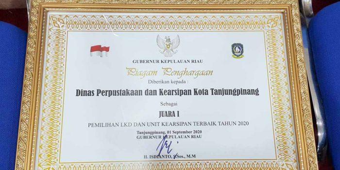 Tanjung Pinang Juara I Pemilihan Lembaga Kearsipan Daerah Terbaik Tingkat Provinsi Kepri 2