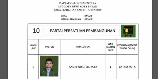 """Daftar Calon Sementara """"DPRD KOTA BATAM"""" dari Partai PPP"""