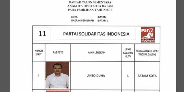 "Daftar Calon Sementara ""DPRD KOTA BATAM"" dari Partai PSI"
