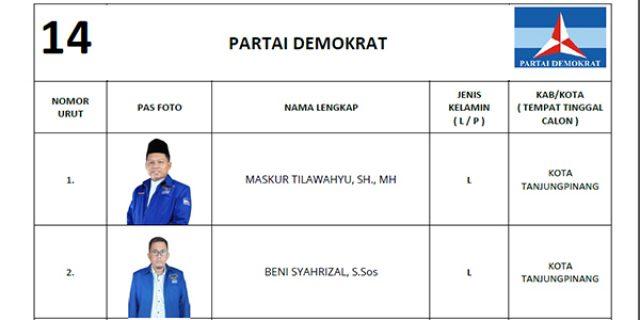 """KPU Tetapkan DCS Partai DEMOKRAT """"DPRD Tanjungpinang"""""""
