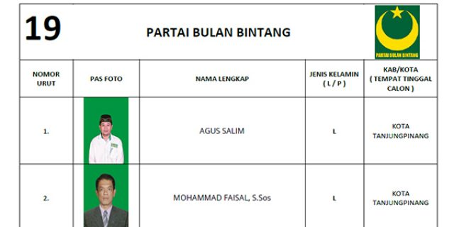 """KPU Tetapkan DCS Partai PBB """"DPRD Tanjungpinang"""""""