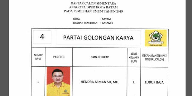 """Daftar Calon Sementara """"DPRD KOTA BATAM"""" dari Partai GOLKAR"""