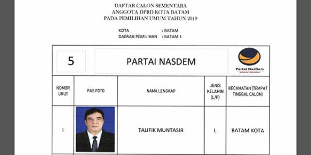 "Daftar Calon Sementara ""DPRD KOTA BATAM"" dari Partai NASDEM"