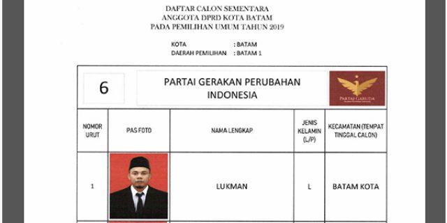 """Daftar Calon Sementara """"DPRD KOTA BATAM"""" dari Partai GARUDA"""
