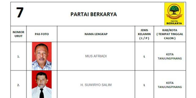 """KPU Tetapkan DCS Partai BERKARYA """"DPRD Tanjungpinang"""""""
