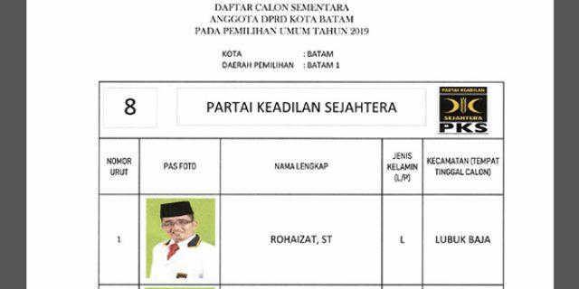 """Daftar Calon Sementara """"DPRD KOTA BATAM"""" dari Partai PKS"""