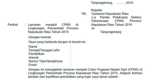 Contoh Surat Lamaran CPNS Provinsi Kepri