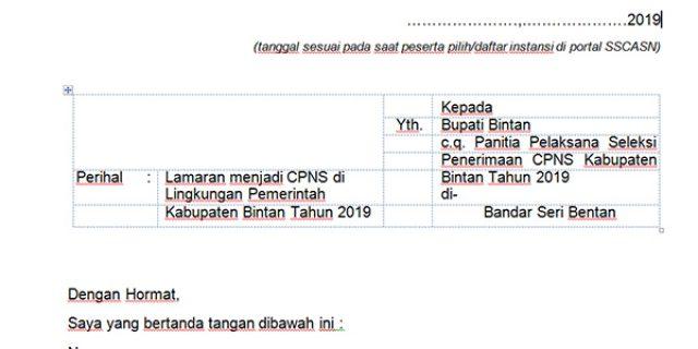 Ini Contoh Surat Lamaran CPNS Pemkab Bintan