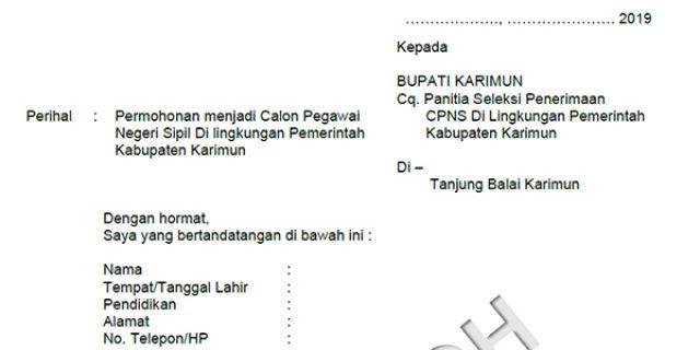 Contoh Surat Lamaran dan Pernyataan CPNS Pemkab Karimun