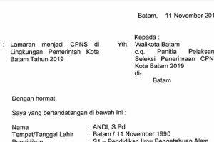 Contoh Surat Lamaran CPNS Pemko Batam