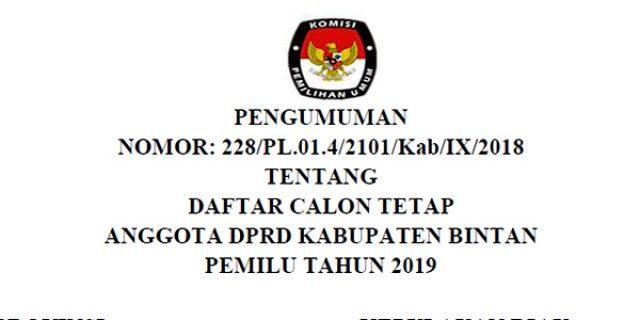 "Daftar Calon Tetap (DCT) ""DPRD BINTAN"""