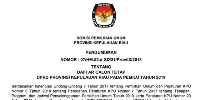 "Daftar Calon Tetap (DCT) ""DPRD KEPRI"""