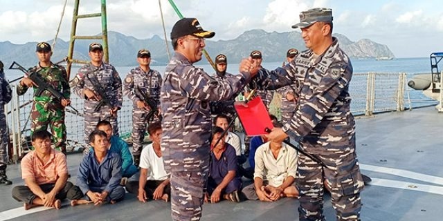 Danlanal Ranai Terima Satu Unit Kapal Vietnam Tangkapan