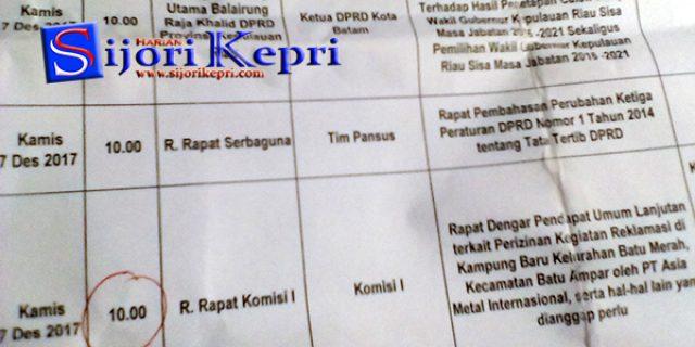 "Komisi I DPRD Batam Tunda ""RDPU REKLAMASI, INI PENYEBABNYA"""