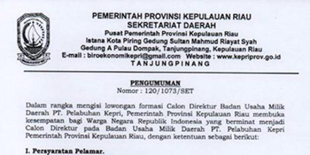 """Lowongan Formasi Calon Direktur """"BUMD PT PELABUHAN KEPRI"""""""