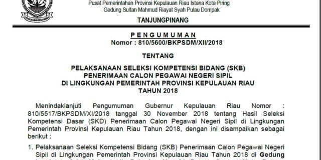 UPDATE : PENGUMUMAN JADWAL SKB CPNS PROVINSI KEPRI TAHUN 2018